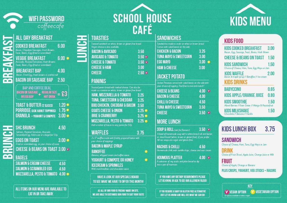 Food Menu. A Braille version is available in the cafe