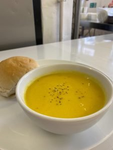 Image of soup and roll